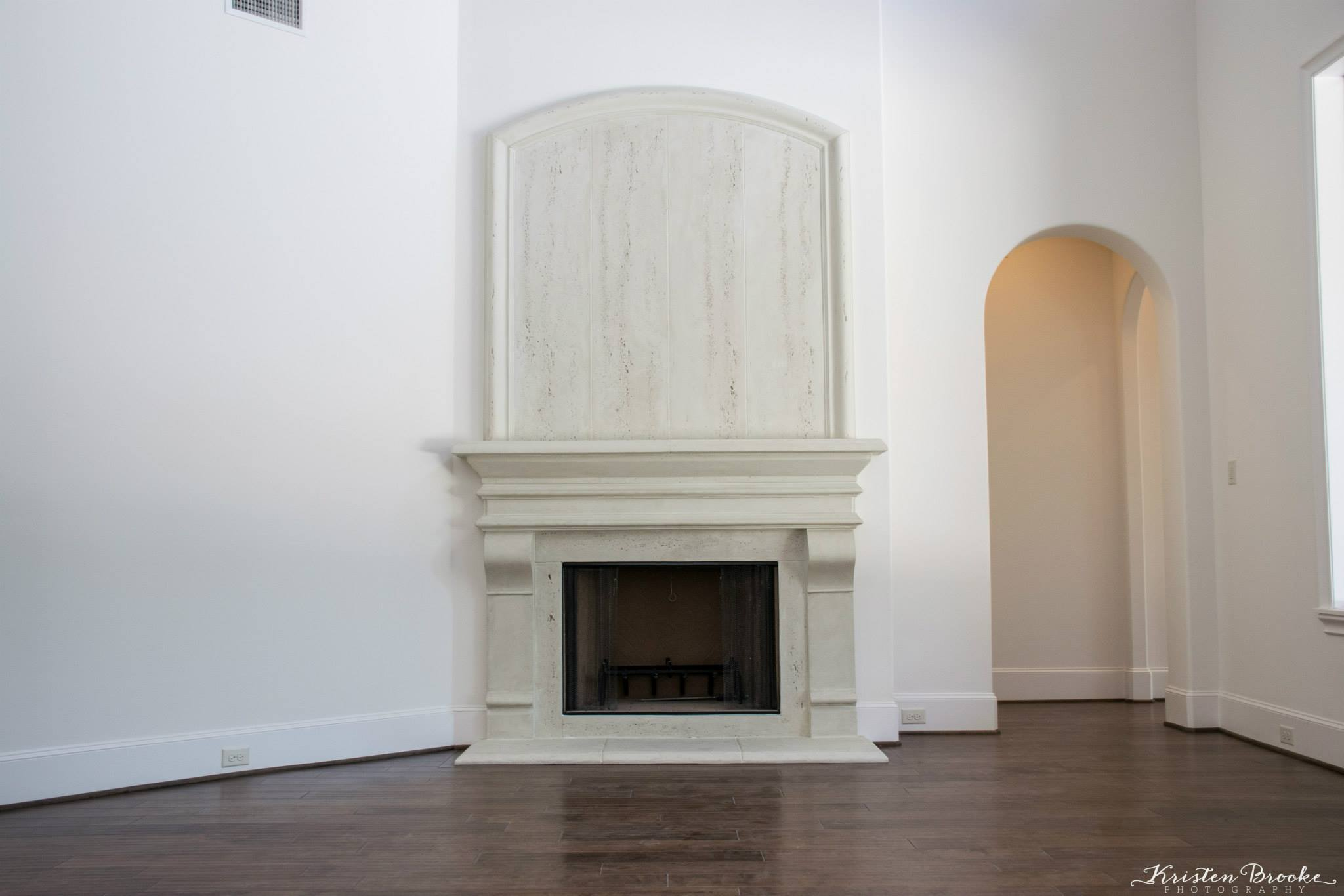 transitional smooth corbels cast fire places